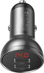 Ładowarka Baseus Ładowarka samochodowa Baseus z wyświetlaczem, 2x USB, 4,8A, 24W (szara)