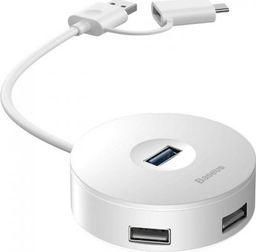HUB USB Baseus Adapter USB 3.0 Baseus Round Box, HUB USB/USB-C do 1x USB 3.0 + 3x USB 2.0, 1m (biały)
