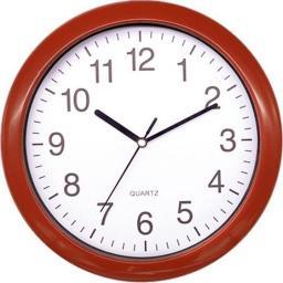 Platinet okrągły zegar ścienny, czerwony