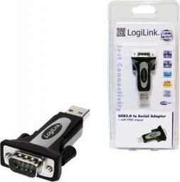 Adapter USB LogiLink USB A-DB9 (wtyk-wtyk) Czarny (AU0034)