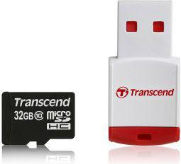 Karta MicroSD Transcend Class 10 32GB + Adapter USB (TS32GUSDHC10-P3)