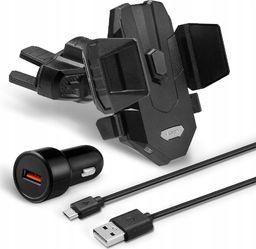 Uchwyt Spigen Uchwyt samochodowy Qi Spigen X35W do CD 10W + Ładowarka + Kabel Black uniwersalny