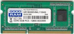 Pamięć do laptopa GoodRam DDR3L SODIMM 4GB 1600MHz CL11 (GR1600S3V64L11S/4G)