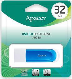 Pendrive Apacer Apacer USB flash disk, 2.0, 32GB, AH23A, niebieski, niebieska, AP32GAH23AW-1, z wysuwanym złączem i oczkiem na brelok