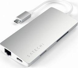 Stacja/replikator Satechi SATECHI HUB USB-C ETHERNET V2 HDMI 4K USB 3.0 SD MICRO SD Silver | MacBook