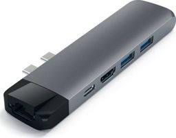 Stacja/replikator Satechi SATECHI PRO HUB WITH ETHERNET USB-C HDMI 4K USB 3.0 MICRO SD Space Gray | MacBook Pro