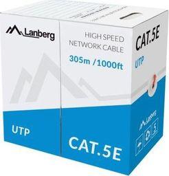 Przewód Lanberg Kabel UTP Kat.5E CCA 305m drut czerwony LCU5-10CC-0305-R-LCU5-10CC-0305-R