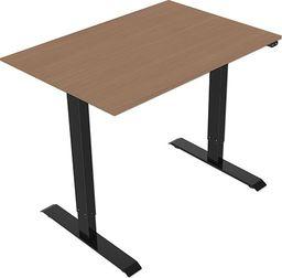 Elektrycznie regulowana podstawa biurka, z blatem, buk, 75x140cm, głębokość 500mm, zasilanie 100V-240V, czarny, 70 kg nośność