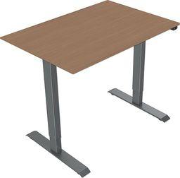 Elektrycznie regulowana podstawa biurka, z blatem, buk, 75x140cm, głębokość 500mm, zasilanie 100V-240V, szary, 70 kg nośność