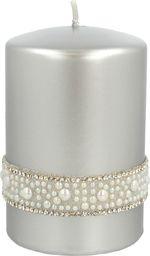 Artman Świeca ozdobna Crystal Opal Pearl walec mały srebrny 1 sztuka (985491)