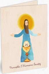 Cozywood Karnet drewniany C6 Komunia Jezus + koperta