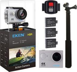 Kamera EKEN KAMERA SPORTOWA EKEN H9R ULTRA HD 4K - 3 BATERIE+ PILOT +KIJ HD | SREBRNA