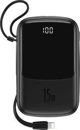 Powerbank Baseus Baseus Q pow power bank 10000mAh 3A 15W 2x USB / USB Typ C + wbudowany kabel Lightning czarny (PPQD-B01) uniwersalny