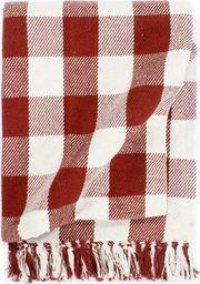 vidaXL Bawełniana narzuta w kratę, 125 x 150 cm, kamienna czerwień