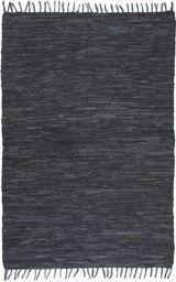 vidaXL Ręcznie tkany dywanik Chindi, skóra, 80x160 cm, szary