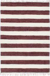 vidaXL Ręcznie tkany dywan Chindi 80x160 cm, bawełna, burgundowo-biały