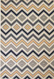 vidaXL Nowoczesny dywan w zygzak, 80x150 cm, brązowo-czarno-niebieski