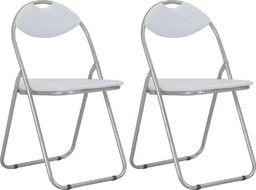 vidaXL Składane krzesła jadalniane, 2 szt., białe, sztuczna skóra