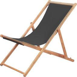 vidaXL składany leżak plażowy, tkanina i drewniana rama, szary (44001)
