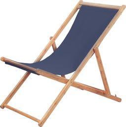 vidaXL składany leżak plażowy, tkanina i drewniana rama, niebieski (44000)