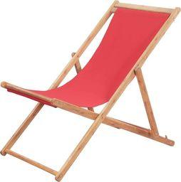 vidaXL składany leżak plażowy, tkanina i drewniana rama, czerwony (43999)