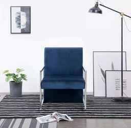 vidaXL Fotel z chromowanym nóżkami, niebieski, aksamit