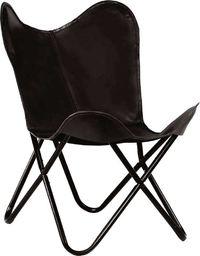 vidaXL Krzesło motyl, dziecięce, czarne, skóra naturalna