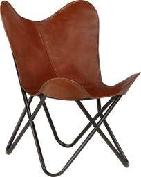 vidaXL Krzesło motyl, dziecięce, brązowe, skóra naturalna