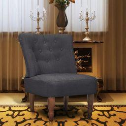 vidaXL Fotel w stylu francuskim, szary, tkanina
