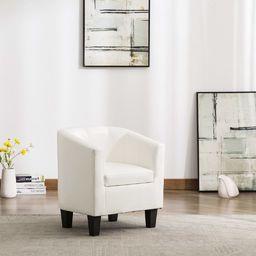 vidaXL Fotel, biały, sztuczna skóra