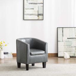 vidaXL Fotel, szary, sztuczna skóra