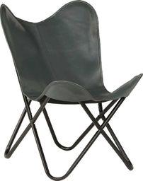 vidaXL Krzesło motyl, dziecięce, szare, skóra naturalna