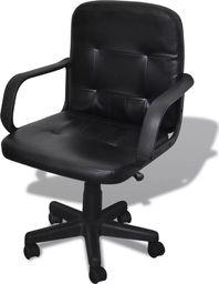 vidaXL Fotel biurowy skórzany (59 x 51 x 81-89 cm) Czarny