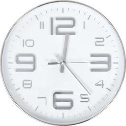 vidaXL zegar ścienny, 30 cm, srebrny (50632)