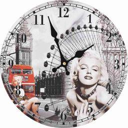 vidaXL zegar ścienny w stylu vintage Marilyn Monroe, 30 cm (50628)