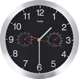 vidaXL zegar ścienny z higrometrem i termometrem, 30 cm, czarny