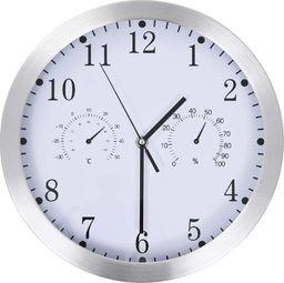 vidaXL zegar ścienny z higrometrem i termometrem, 30 cm, biały (50623)