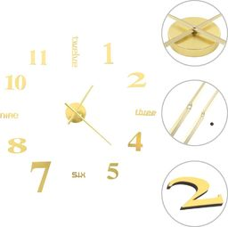 vidaXL zegar ścienny 3D, nowoczesny design, 100 cm, XXL, złoty (50638)