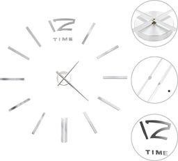 vidaXL zegar ścienny 3D, nowoczesny design, 100 cm, XXL, srebrny