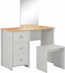 vidaXL Toaletka z lustrem i stołkiem, szara, 104 x 45 x 131 cm