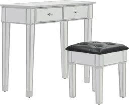 vidaXL Lustrzana toaletka ze stołkiem, MDF i szkło