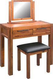 vidaXL Toaletka z lustrem i taboretem, lite drewno akacjowe