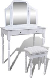 vidaXL Toaletka z 3-częściowym lustrem, 2 szufladami i stołkiem, biała