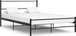 vidaXL Rama łóżka, czarna, metalowa, 140 x 200 cm