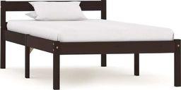 vidaXL Rama łóżka, ciemnobrązowa, lite drewno sosnowe, 90 x 200 cm