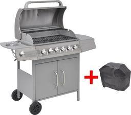 vidaXL Grill gazowy ze strefą gotowania 6+1, kolor srebrny