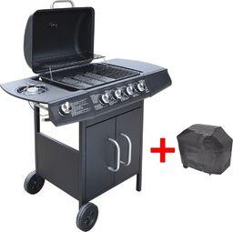 vidaXL Grill gazowy ze strefą gotowania 4+1, kolor czarny
