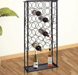 vidaXL Metalowy stojak na 28 butelek wina