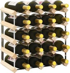 vidaXL Stojak na 20 butelek wina, lite drewno sosnowe