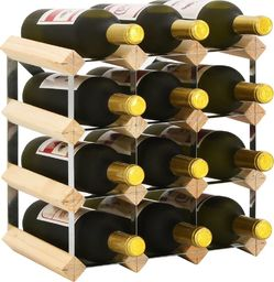 vidaXL Stojak na 12 butelek wina, lite drewno sosnowe